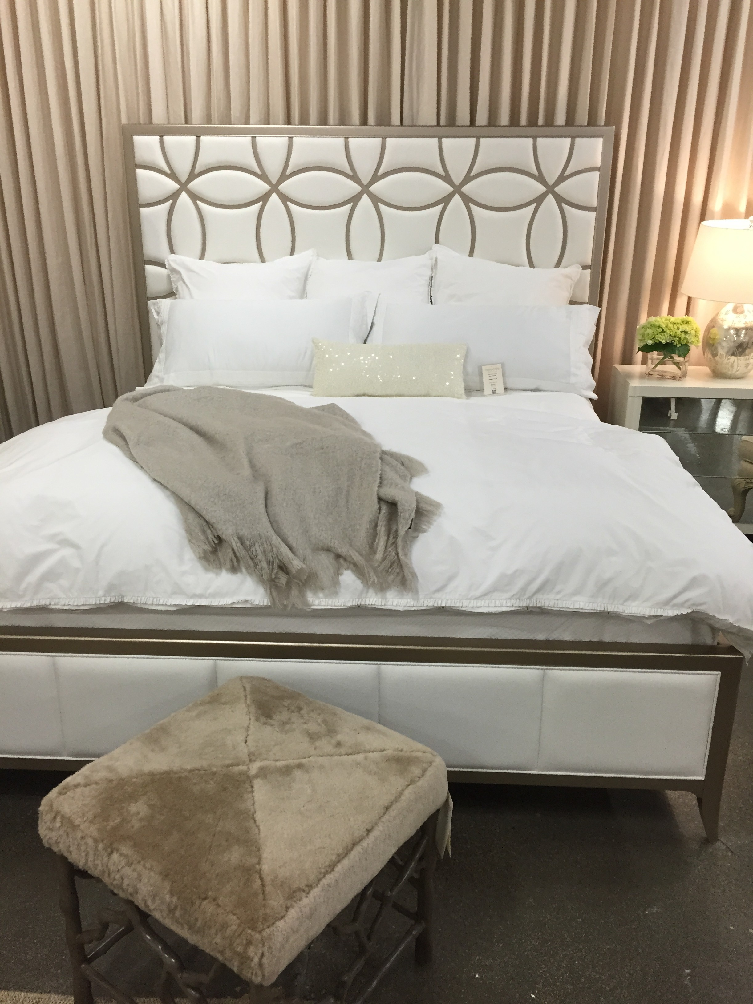 we are loving this head board the fabric is linen and the design is classic metallic decorative bowl with blue ecks in it picks up the light and the - Metallic Bedroom 2015